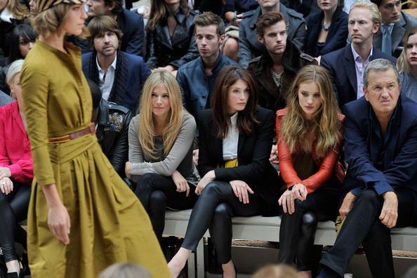Burberry Spring Summer 2012 Womenswear Show - Front Row [people,audience,event,crowd,sienna miller,rosie huntington-whitley,mario testino,gemma arterton,front row,england,london,kensington gardens,burberry spring,burberry spring summer 2012 womenswear show]