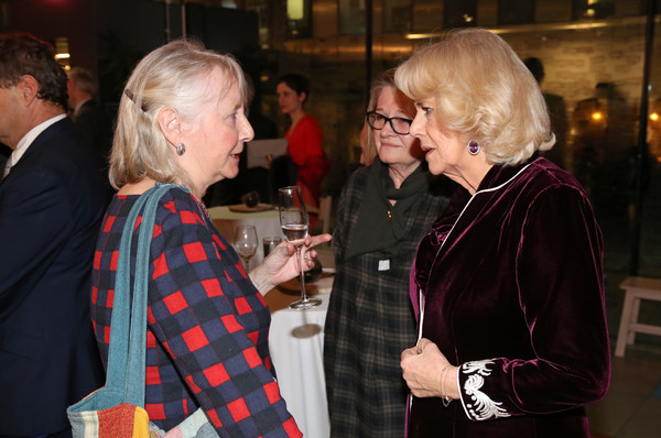 The Duchess Of Cornwall Attends A Reception To Mark The Launch Of The 'Glorious Grandparents' Initiative [event,fashion,design,hand,tartan,party,pattern,night,dinner,glorious grandparents,gemma jones,camilla duchess of cornwall,initiative,initiative,unicorn theatre,england,the duchess of cornwall attends a reception,reception,mark the launch]
