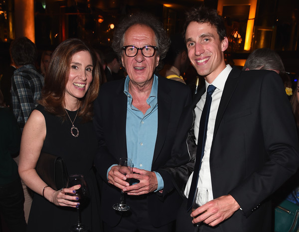 National Geographic's Premiere Screening of 'Genius' in London - Reception [event,fun,formal wear,suit,smile,geoffrey rush,head of global scripted development,executive producer,carolyn bernstein,production,london,national geographic,premiere screening of ``genius,reception,reception]
