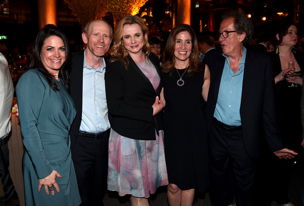 National Geographic's Premiere Screening of 'Genius' in London - Reception [event,fashion,fun,party,formal wear,smile,crowd,emily watson,ron howard,geoffrey rush,ceo,evp,director,london,national geographic,premiere screening of ``genius,reception]