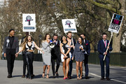 """(L-R) Nathan Henry, Scott Timlin, Holly Hagan, Aaron Chalmers, Charlotte Crosby, Chloe Etherington, Holly Hagan, Charlotte Crosby, Chloe Etherington, Kyle Christie, Marnie Simpson, Gaz Beadle and James Tindale attend a photocall to launch series 10 of """"Geordie Shore"""" at Speaker's Corner on March 11, 2015 in London, England."""