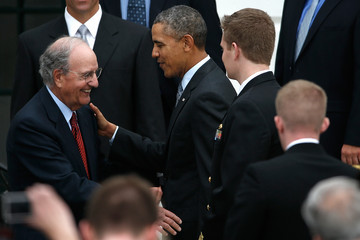 George Mitchell Barack Obama Welcomes the Boston Red Sox