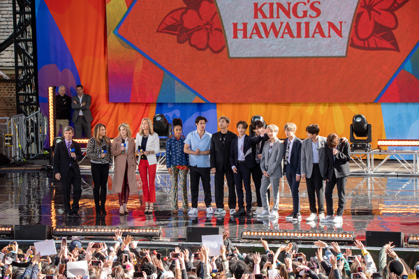 BTS Performs On 'Good Morning America' [stage,event,stage equipment,performance,crowd,stadium,tourism,leisure,heater,good morning america,amy robach,george stephanopoulos,park ji-min,kim tae-hyung,yara,lara spencer,kim seok-jin,bts performs on,ginger zee.]