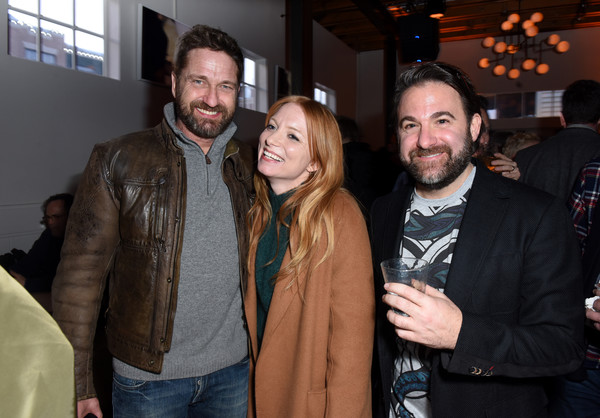 DIRECTV Lodge Presented By AT&T Hosts 'Them That Follow' Party At Sundance Film Festival 2019 [event,facial hair,fun,outerwear,textile,party,jacket,smile,leather jacket,beard,follow\u00e2,bradley gallo,britt poulton,gerard butler,them that follow,l-r,directv lodge,at t,party,sundance film festival]