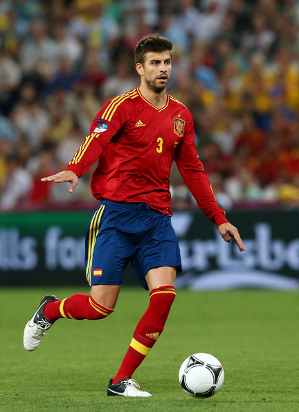 Gerard Pique Gerard Pique of Spain with the ball during the UEFA EURO 2012 quarter final match between Spain and France at Donbass Arena on June 23, 2012 in Donetsk, Ukraine.