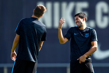 Gerard Pique Barcelona Training Session and Press Conference