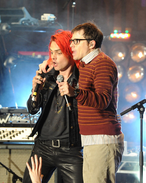 Gerard Way Gerard Way of My Chemical Romance (L) and Rivers Cuomo of Weezerperform at the