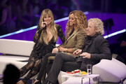 """Heidi Klum, Tyra Banks and Thomas Gottschalk at the """"Germany's Next Top Model"""" finals at ISS Dome on May 23, 2019 in Duesseldorf, Germany."""