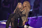 """Heidi Klum and Tyra Banks at the """"Germany's Next Top Model"""" finals at ISS Dome on May 23, 2019 in Duesseldorf, Germany."""