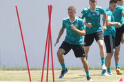 Thomas Mueller (C) of Gerrmany during a Germany training session during the 2018 FIFA World Cup at Park Arena Training Ground on June 20, 2018 in Sochi, Russia.