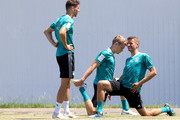 Leon Goretzka, Matthias Ginter and Thomas Mueller of Germany train to the Germany Training session at Park Arena training ground on June 21, 2018 in Sochi, Russia.