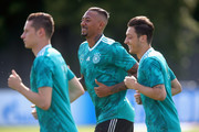 Jerome Boateng of Germany looks on during the Germany Training Session at ZSKA Vatutinki Sportarena on June 25, 2018 in Moscow, Russia.