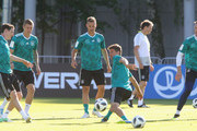 Thomas Mueller of Germany plays with the ball during the Germany training session ahead of the 2018 FIFA World Cup at CSKA Sports Base Vatutinki on on June 15, 2018 in Moscow, Russia.