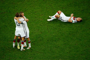 (L-R) Thomas Mueller, Philipp Lahm, Bastian Schweinsteiger and Toni Kroos of Germany celebrate after defeating Argentina 1-0 in extra time during the 2014 FIFA World Cup Brazil Final match between Germany and Argentina at Maracana on July 13, 2014 in Rio de Janeiro, Brazil.