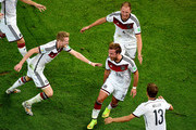 Mario Goetze of Germany celebrates scoring his team's first goal in extra time during the 2014 FIFA World Cup Brazil Final match between Germany and Argentina at Maracana on July 13, 2014 in Rio de Janeiro, Brazil.