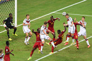 Bastian Schweinsteiger of Germany heads the ball forward leading to a goal by Miroslav Klose during the 2014 FIFA World Cup Brazil Group G match between Germany and Ghana at Castelao on June 21, 2014 in Fortaleza, Brazil.