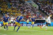 Julian Draxler shoots part Mikael Lustig of Sweden  during the 2018 FIFA World Cup Russia group F match between Germany and Sweden at Fisht Stadium on June 23, 2018 in Sochi, Russia.