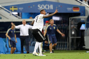 Jerome Boateng of Germany reacts before being sent off during the 2018 FIFA World Cup Russia group F match between Germany and Sweden at Fisht Stadium on June 23, 2018 in Sochi, Russia.