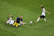 Jerome Boateng of Germany brings down Marcus Berg of Sweden to earn his second yellow card and be sent sent off during the 2018 FIFA World Cup Russia group F match between Germany and Sweden at Fisht Stadium on June 23, 2018 in Sochi, Russia.