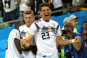 Mario Gomez of Germany celebrates the winning goal scored by Toni Kroos during the 2018 FIFA World Cup Russia group F match between Germany and Sweden at Fisht Stadium on June 23, 2018 in Sochi, Russia.