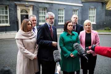 Gerry Adams Sinn Fein and DUP Leaders Meet With Theresa May at Downing Street