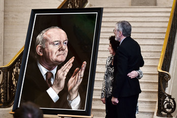 Gerry Adams Portait Of The Late Martin McGuinness Exhibited At Stormont