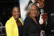 """Widow of baseball player Jackie Robinson Rachel Robinson (R) and granddaughter Sonya Pankey attend the """"Get On Up"""" premiere at The Apollo Theater on July 21, 2014 in New York City."""