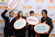 """(L-R) Actors Darren Criss, Ashley Fink, Chris Colfer, and Samuel Larsen pose in the Getty Images and Wonderwall.com photo booth and green room at """"Trevor Live"""" honoring Katy Perry and Audi of America for The Trevor Project held at The Hollywood Palladium on December 2, 2012 in Los Angeles, California."""