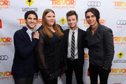 """Actors Darren Criss, Ashley Fink, Chris Colfer, and Samuel Larsen pose in the Getty Images and Wonderwall.com photo booth and green room at """"Trevor Live"""" honoring Katy Perry and Audi of America for The Trevor Project held at The Hollywood Palladium on December 2, 2012 in Los Angeles, California."""