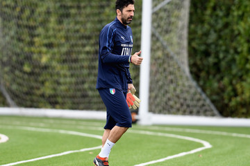 Gianluigi Buffon Italy Training And Press Conference