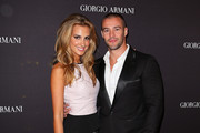 .Laura Dundovic and Kris Smith arrive at the Giorgio Armani Beauty Counter Official Opening at MYER Sydney City on April 16, 2013 in Sydney, Australia.