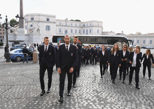 Italian Football Team Meets President Sergio Mattarella [sergio mattarella,coaches,players,italy women,luxury vehicle,event,vehicle,suit,team,car,businessperson,tourism,photography,formal wear,italy,quirinale,rome,italian football team]