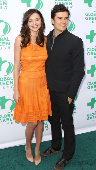Model Miranda Kerr (L) and actor Orlando Bloom attend Global Green USA's 15th Annual Millennium Awards at the Fairmont Miramar Hotel and Bungalows on June 4, 2011 in Santa Monica, California.