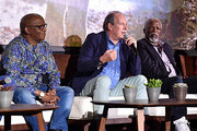 (L-R) Creator/producer African vocal/choir arrangements Lebo M., Composer Hans Zimmer and actor John Kani attend the Global Press Conference for Disney's THE LION KING on July 10, 2019 in Beverly Hills, California.
