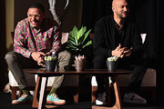 Eric Andre and Keegan-Michael Key attend the Global Press Conference for Disney's THE LION KING on July 10, 2019 in Beverly Hills, California.