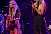 Singers Nelly Joy (L) and Colbie Caillat of the band Gone West perform at Gramercy Theatre on April 09, 2019 in New York City.