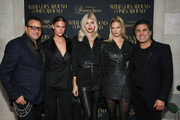 (L-R) Gerard Maione, Nina Agdal, Devon Windsor, Nadine Leopold, and Seth Weisser attend the What Goes Around Comes Around Madison Avenue Flagship Opening Celebration with Pernod Ricard on February 08, 2019 in New York City.