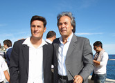 Football legends Javier Zanetti and Rabah Madjer visit the Champions Promenade on October 10, 2011 in Monaco, Monaco.