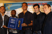 Rabah Madjer, Abedi Pele'  Ruud Gullit, Luis Figo and  Antonio Caliendo during the Golden Foot Awards press conference on October 10, 2011 in Monaco, Monaco.