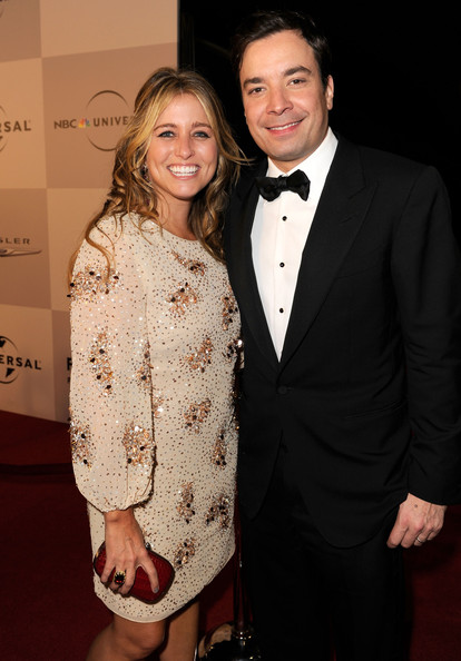 Producer Nancy Juvonen (L) and TV personality Jimmy Fallon arrive at NBCUniversal/Focus Features Golden Globes Viewing and After Party sponsored by Chrysler held at The Beverly Hilton hotel on January 16, 2011 in Beverly Hills, California.