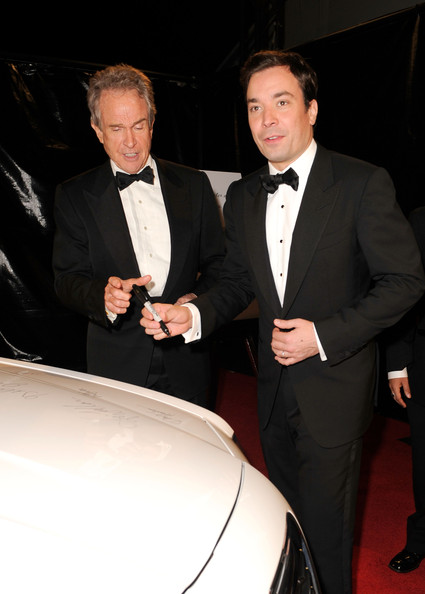Actors Warren Beatty and Jimmy Fallon arrive at NBCUniversal/Focus Features Golden Globes Viewing and After Party sponsored by Chrysler held at The Beverly Hilton hotel on January 16, 2011 in Beverly Hills, California.