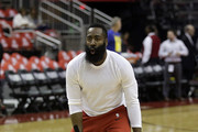 James Harden #13 of the Houston Rockets warms up  before Game Six of the Western Conference Semifinals of the 2019 NBA Playoffs at Toyota Center on May 10, 2019 in Houston, Texas. NOTE TO USER: User expressly acknowledges and agrees that, by downloading and or using this photograph, User is consenting to the terms and conditions of the Getty Images License Agreement.