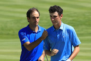 Edoardo Molinari of Italy and Renato Paratore of Italy celebrate victory during Day One of the GolfSixes at The Centurion Club on May 5, 2018 in St Albans, England.