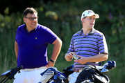 Adam Callagher and Shaun Smith of Wollaton Park GC look on during day one of the Golfbreaks.com PGA Fourball Championship Final at De Vere Carden Park Hotel on August 12, 2015 in Chester, England.