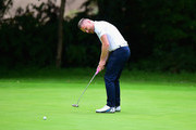 James Wright of Market Drayton Golf Club putts on the 1st green during the Golfbreaks.com PGA Fourball Championship Midland Qualifier at The Staffordshire Golf Club on July 4, 2017 in Stafford, England.
