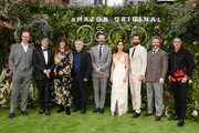 "(L-R) Mark Gatiss, Neil Gaiman, Josie Lawrence, Douglas Mackinnon, Jon Hamm, Adria Arjona, David Tennant, Michael Sheen and Rob Wilkins attend the Global premiere of Amazon Original ""Good Omens"" at Odeon Luxe Leicester Square on May 28, 2019 in London, England."