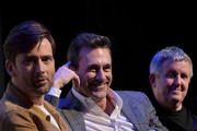 """(L-R) Actors David Tennant and Jon Hamm, and director Douglas Mackinnon take part in a Q&A following the premiere the Good """"Omens: The Nice and Accurate"""" SXSW Event during the 2019 SXSW Conference and Festivals at ZACH Theatre on March 09, 2019 in Austin, Texas."""