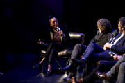 (L-R) Aisha Tyler, Neil Gaiman, and Michael Sheen at The Nice and Accurate event during SXSW at ZACH Theatre on March 09, 2019 in Austin, Texas.