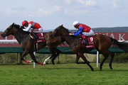 Oisin Murphy on Dierdre (L) on their way to victory over Frankie Dettori and Mehdaayih in the Qatar Nassau Stakes at Goodwood racecourse on August 01, 2019 in Chichester, England.