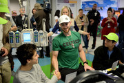 Gordon Hayward shakes hands with Nicholas after playing video for Extra Life at Boston Children's Hospital November 2, 2019 in Boston, Massachusetts.